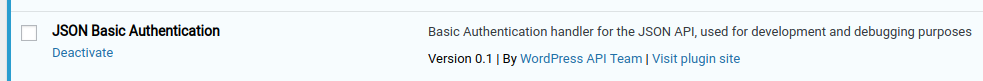 json basic auth after installation